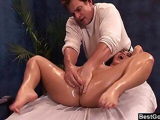 BestGonzo Teen is slippery wet after erotic oil massage.