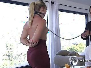 Dudes boss bangs his wife in bondage