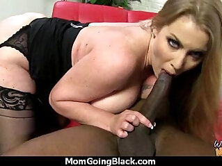 Sexy mom gets creamy facial after getting pounded by a black dude