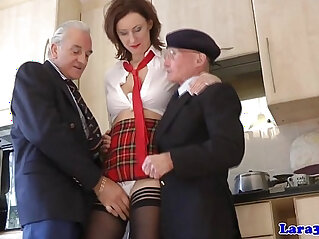 Mature skank picks up geriatrics
