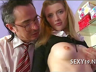 Old master is taming cute asian chick