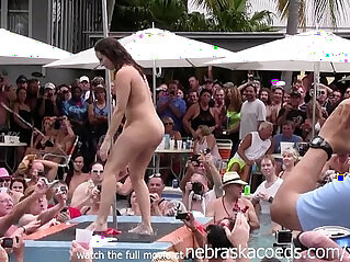 wild milfs stripping naked in pool hot body strip contest