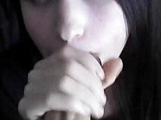 Pale asian girl great blowjob