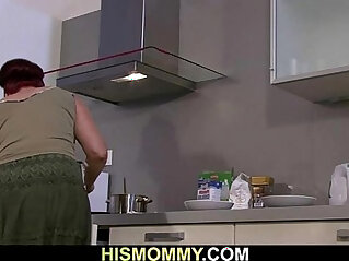 Lesbian with mom and at the kitchen