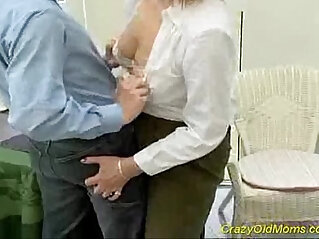Crazy old mom gets his hard cock