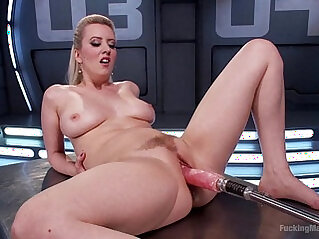 Busty amateur blonde Cherry Torn having fun with dildo fucking machine