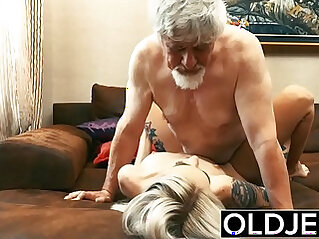 Old and Young asian Teen getting Fucked by Old man tight wet pussy licking