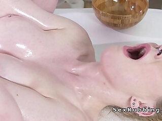 Pale blonde bangs masseurs cock