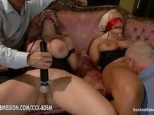 Two gentlemens dominate the two bondage girls