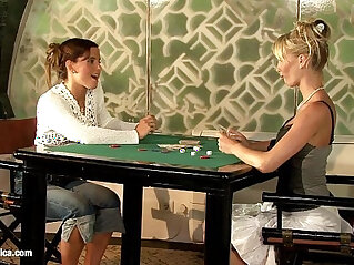 Geena and Britta play poker and then with huge toys on Sapphic Erotica