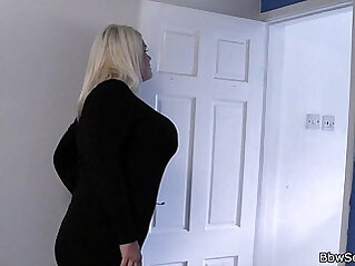 She finds him cheating blonde fatty