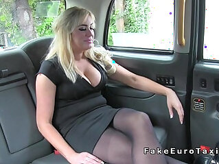 Huge natural tits Milf anal fingered in fake taxi