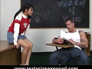 Asian schoolgirl fucks her pervert teacher