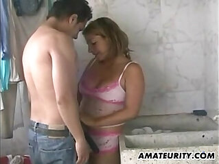 Busty blonde amateur teen girlfriend sucks fucks in her bathroom