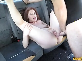 Busty European chick pussy fucked in a taxi
