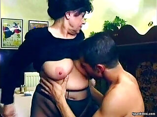 Sexy granny gets anal fucked in restaurant