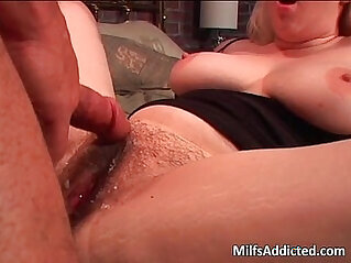 Blonde bitch riding huge dick on the