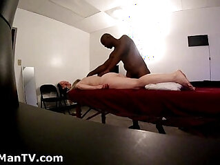 Blonde soccer mom gets BlackManMassage Hidden Cam