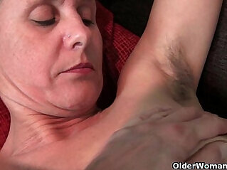 Hairy granny with long hard nipples