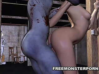 Short Haired 3D Babe is Fucked Rough by a Zombie