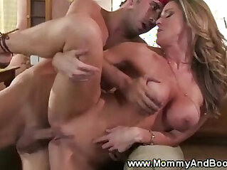 Busty blonde milf gets her sweet pussy and ass fucked hard from behind and loves it