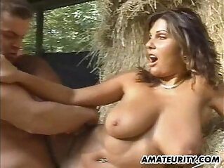Very busty blonde amateur girlfriend in action scene with facial