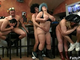 Hot group orgy right in the bar