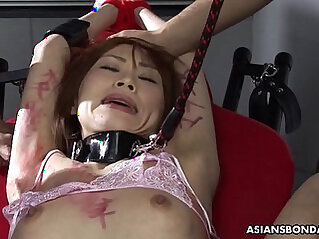 BDSM session the Asian babe in stockings gets by the dudes