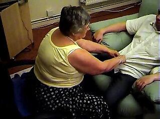Grandma libby from gives sloppy blowjob and footjob