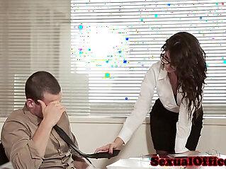 Office secretary riding on cock