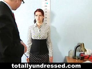 Shocking nude job interview for redhead teen babe
