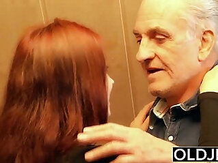 Young hard anal fucked by old horny man he fucks her pussy and licks clit