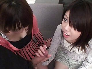 Subtitled Uncensored Japanese CFNM threesome blowjob in Full HD