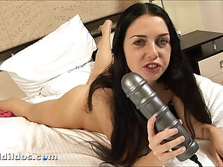 Anal queen Isabella riding huge dildo