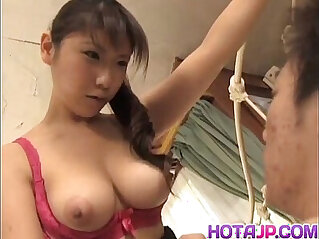 Momo Aizawa shakes big cans while fucked in hairy cooshie