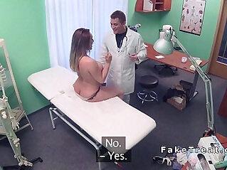 Toned brunette fucks doctor